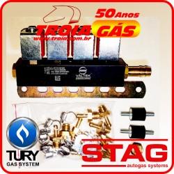 Rampa 4 Bicos Injetores GNV 5ª geração Stag TURY